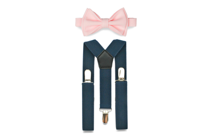 Navy Suspenders & Light Pink Bow Tie for Babies