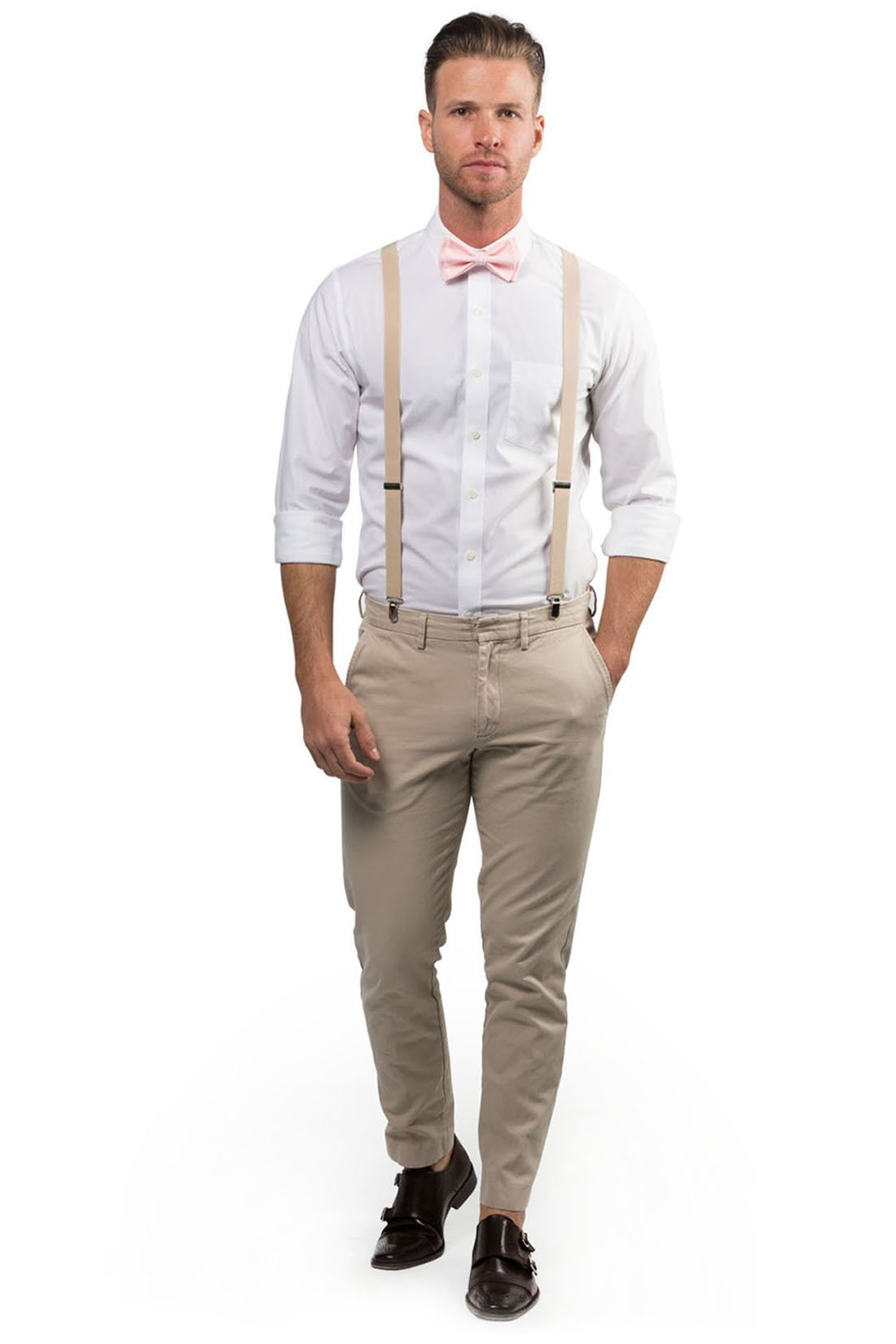 Beige Suspenders & Light Pink Bow Tie