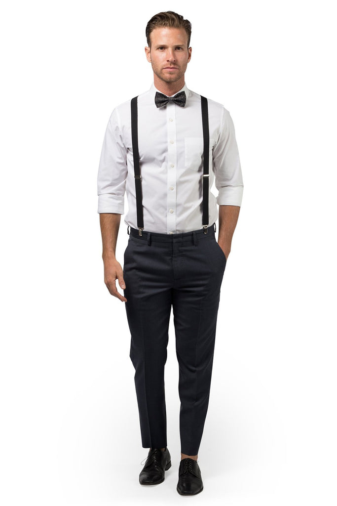 Black Suspenders & Black Polka Dot Bow Tie