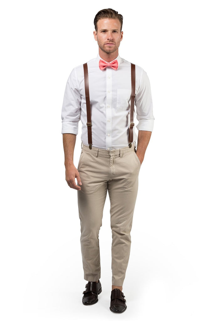Brown Leather Suspenders & Coral Bow Tie