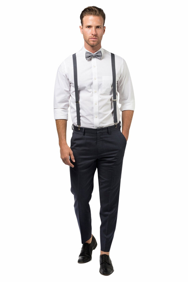 Charcoal Suspenders & Gingham Black Bow Tie
