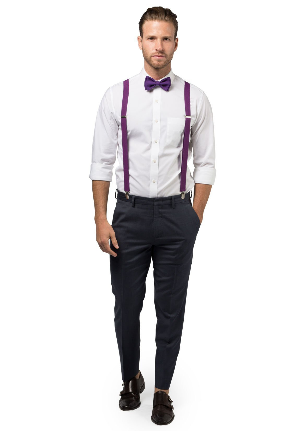 Clip on Bow-Tie Matching Set for Adults Men Women Lavender Purple Suspender