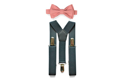 Charcoal Gray Suspenders & Dusty Rose Bow Tie