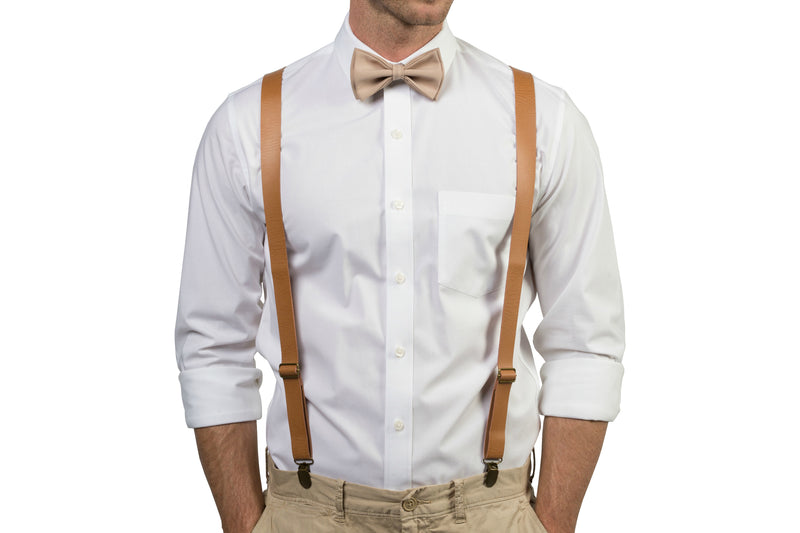 Tan Leather Suspenders & Beige Bow Tie