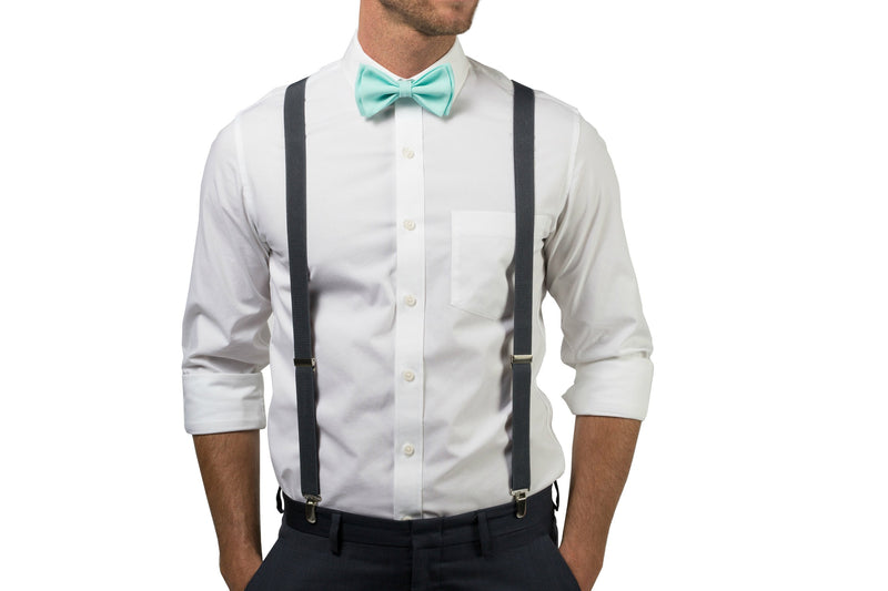 Charcoal Suspenders & Aqua Bow Tie