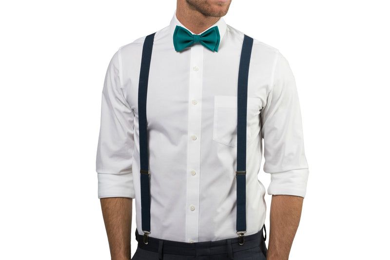 Navy Suspenders & Teal Bow Tie for Baby Toddler Boy Men