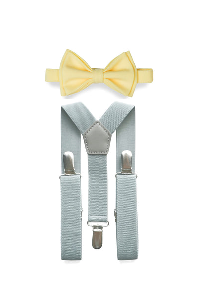 Light Grey Suspenders & Yellow Bow Tie for Kids