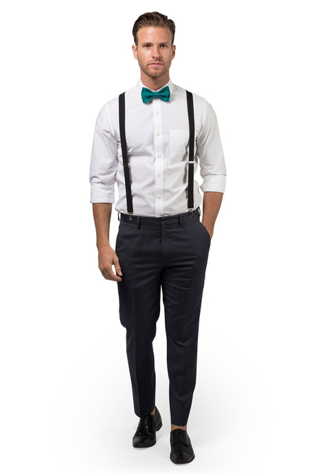 Black Suspenders & Teal Bow Tie