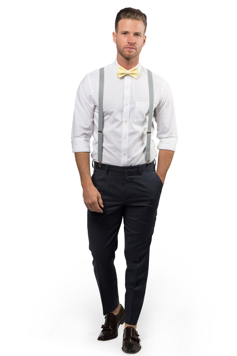 Light Gray Suspenders & Yellow Bow Tie