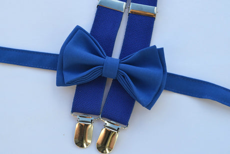 Royal Blue Suspenders & Royal Blue Bow Tie