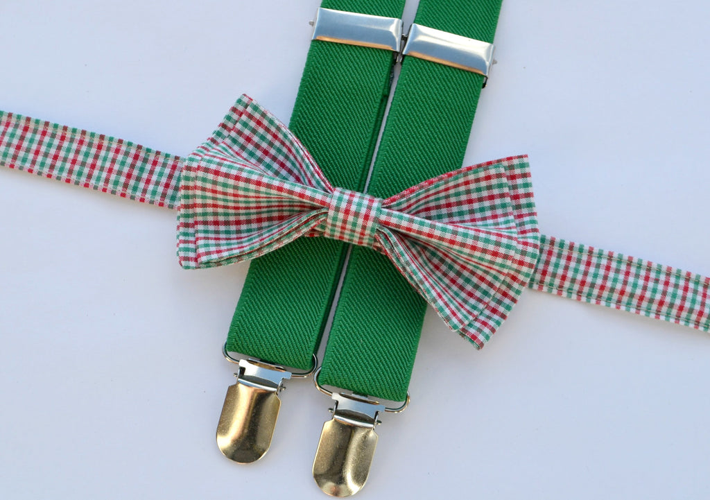 Green Suspenders & Light Plaid Bow Tie