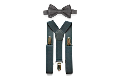 Charcoal Gray Suspenders & Gray Bow Tie