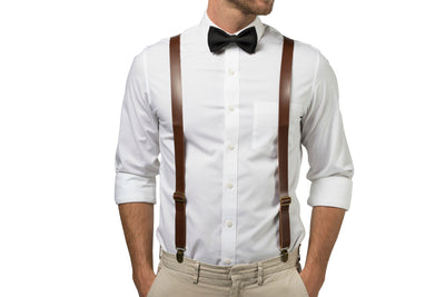 Brown Leather Suspenders & Black Bow Tie