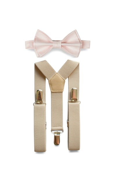 Beige Suspenders & Petal Bow Tie for Kids