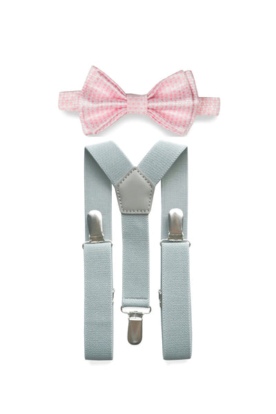 Light Grey Suspenders & Pink Bow Tie for Kids