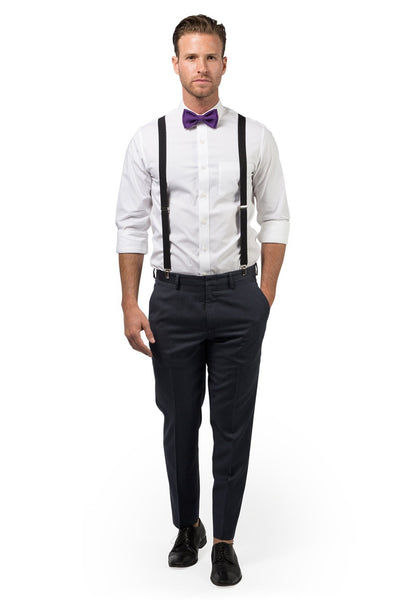Black Suspenders & Dark Purple Bow Tie
