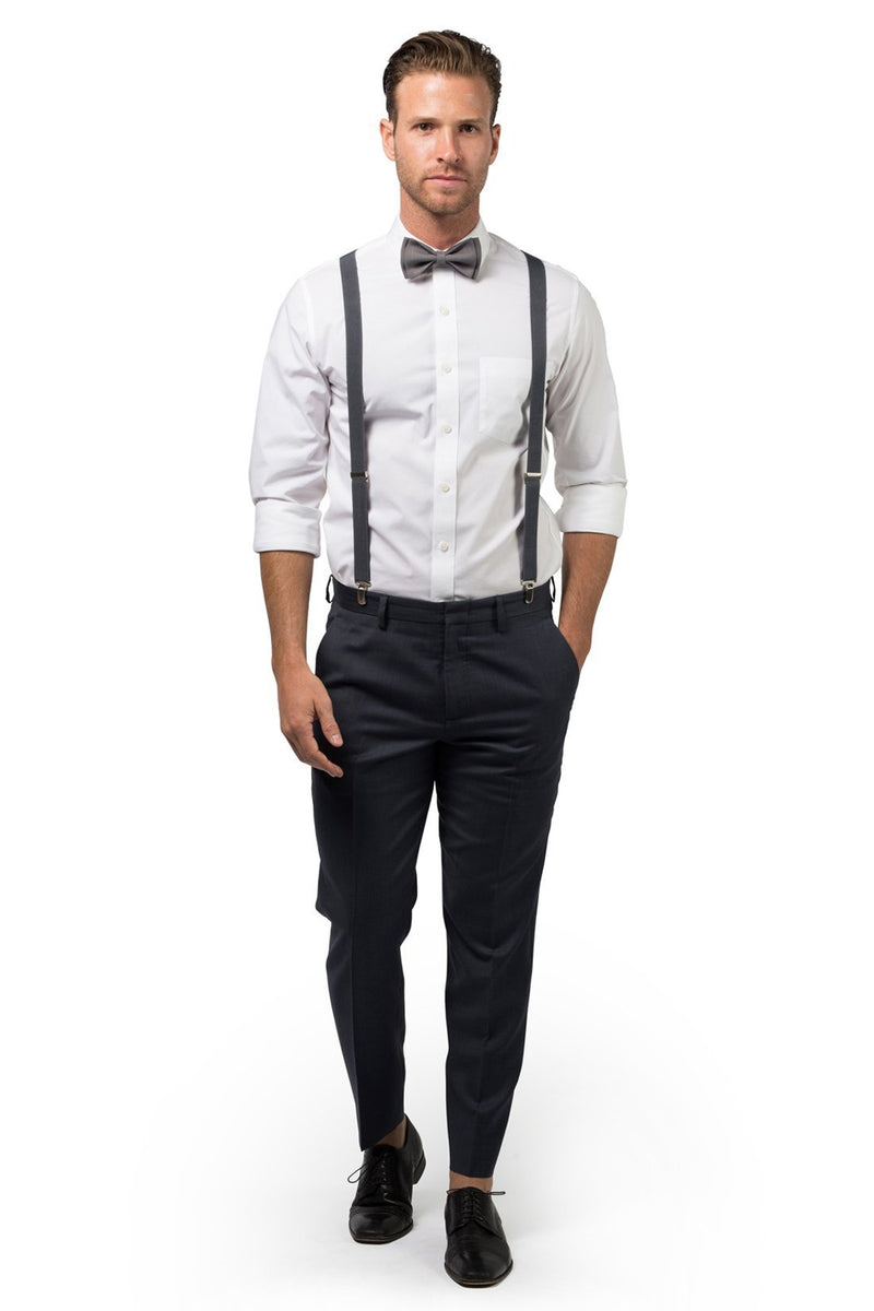 Charcoal Suspenders & Gray Bow Tie