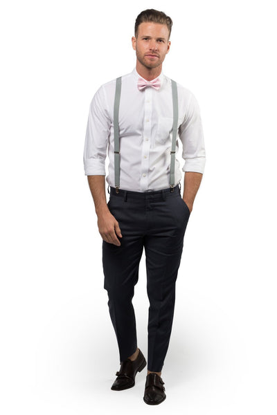 Light Gray Suspenders & Pink Bow Tie