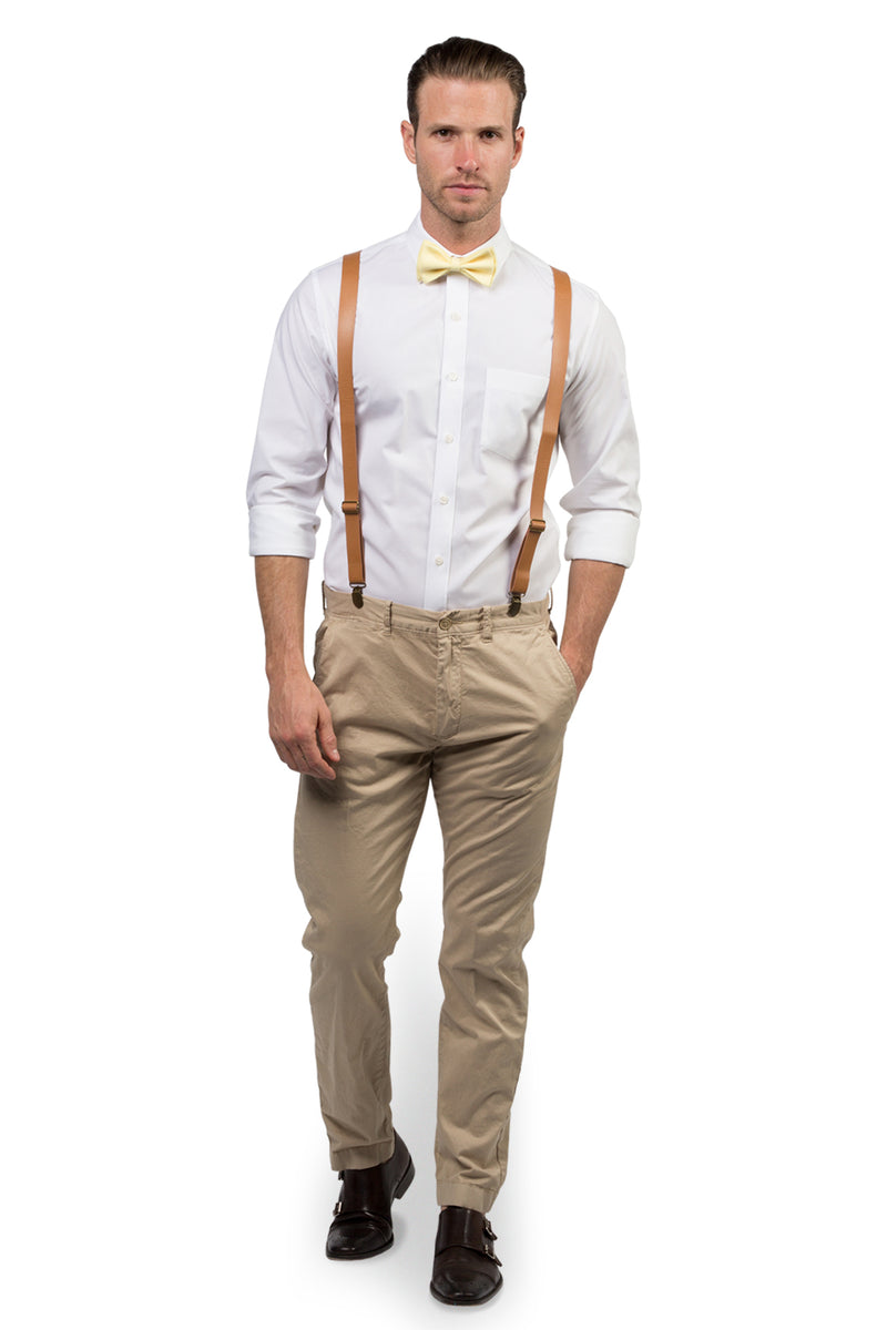 Tan Leather Suspenders & Yellow Bow Tie