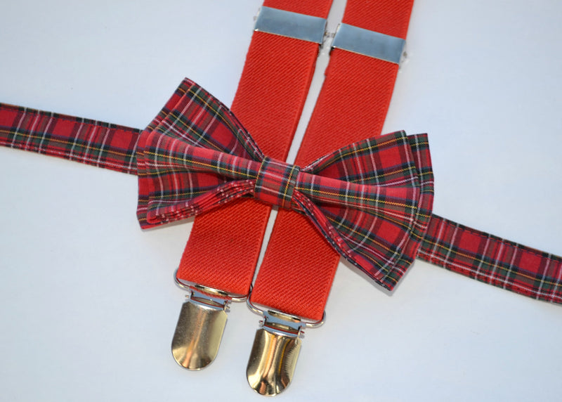 Red Suspenders & Dark Plaid Bow Tie