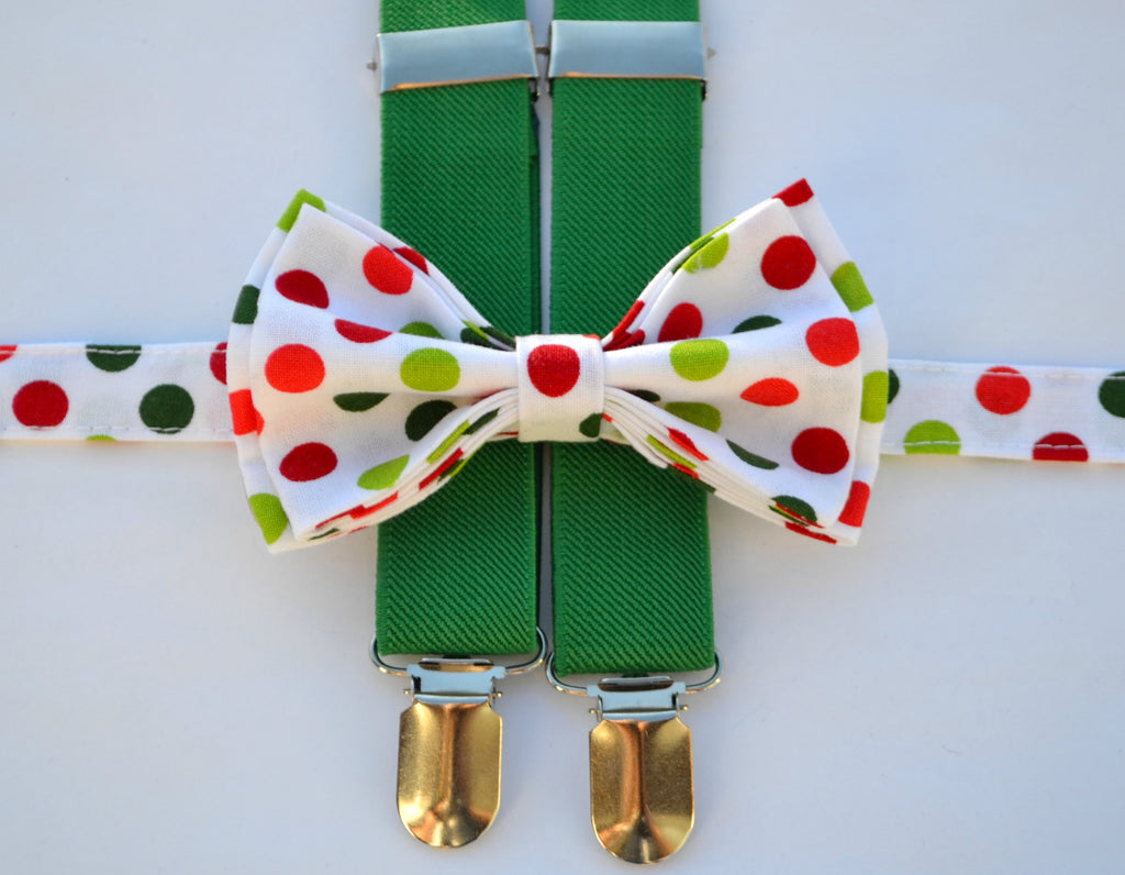 Green Suspenders & White Polka Dot Bow Tie