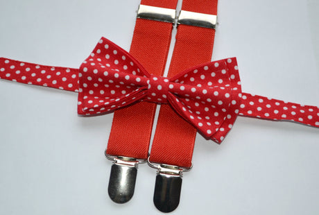 Red Suspenders & Red Polka Dot Bow Tie