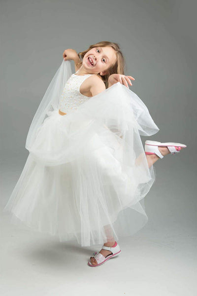 Gold & White Flower Girl Dress
