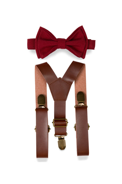 Brown Leather Suspenders & Burgundy Bow Tie for Kids