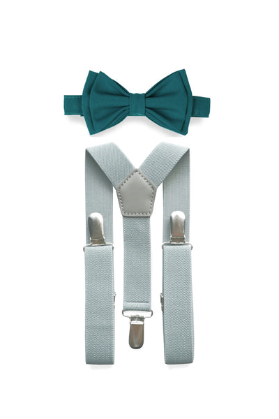 Light Grey Suspenders & Teal Bow Tie for Kids