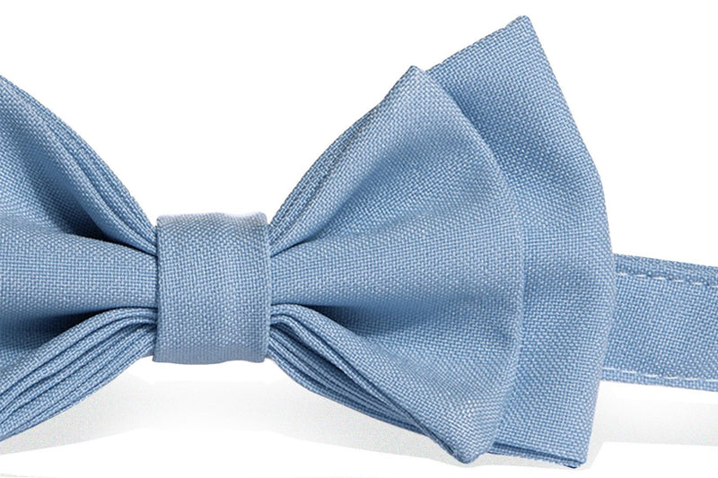 Brown Leather Suspenders & Baby Blue Bow Tie - ARMONIIA
