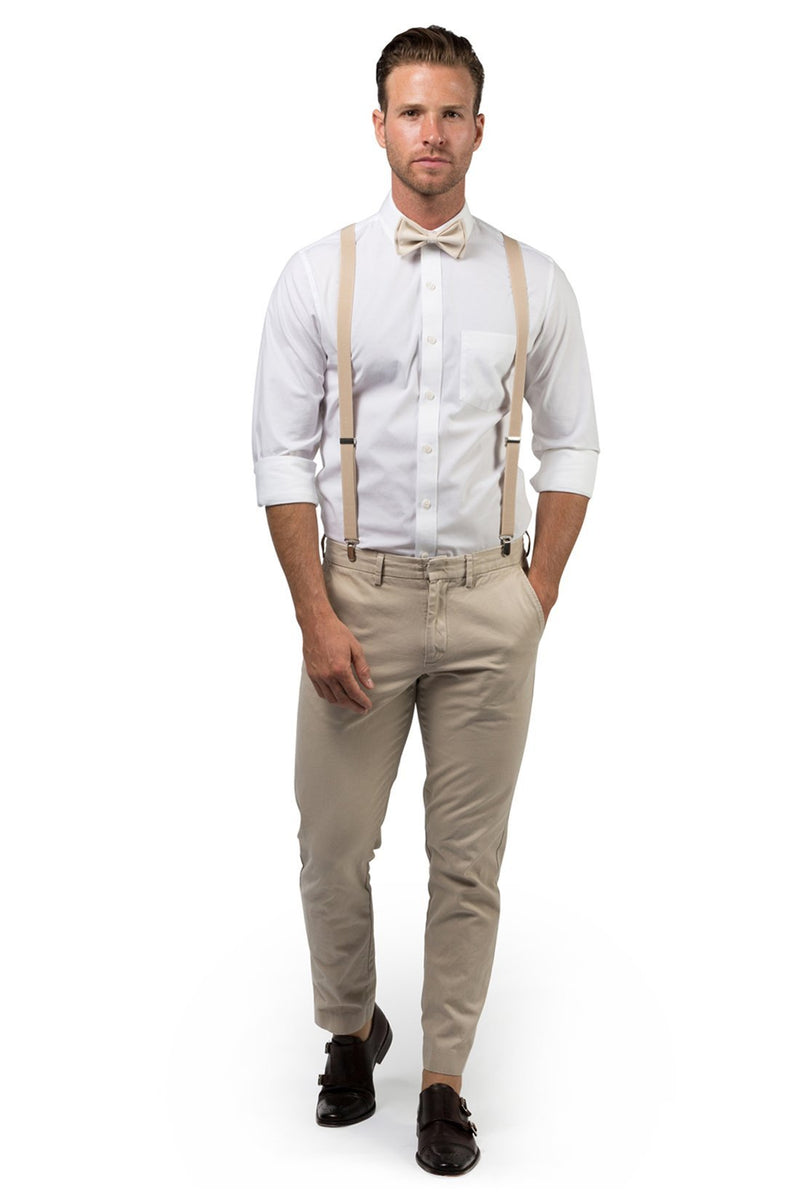 Beige Suspenders & Cream Bow Tie
