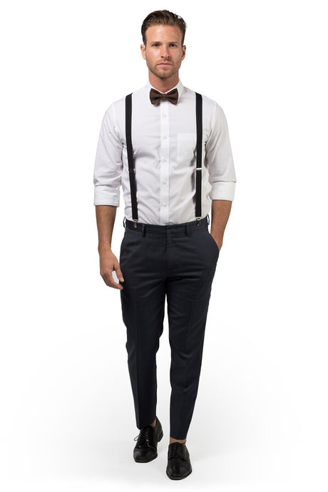 Black Suspenders & Brown Bow Tie