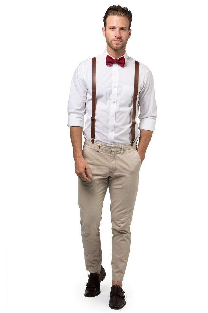Brown Leather Suspenders & Burgundy Bow Tie - ARMONIIA