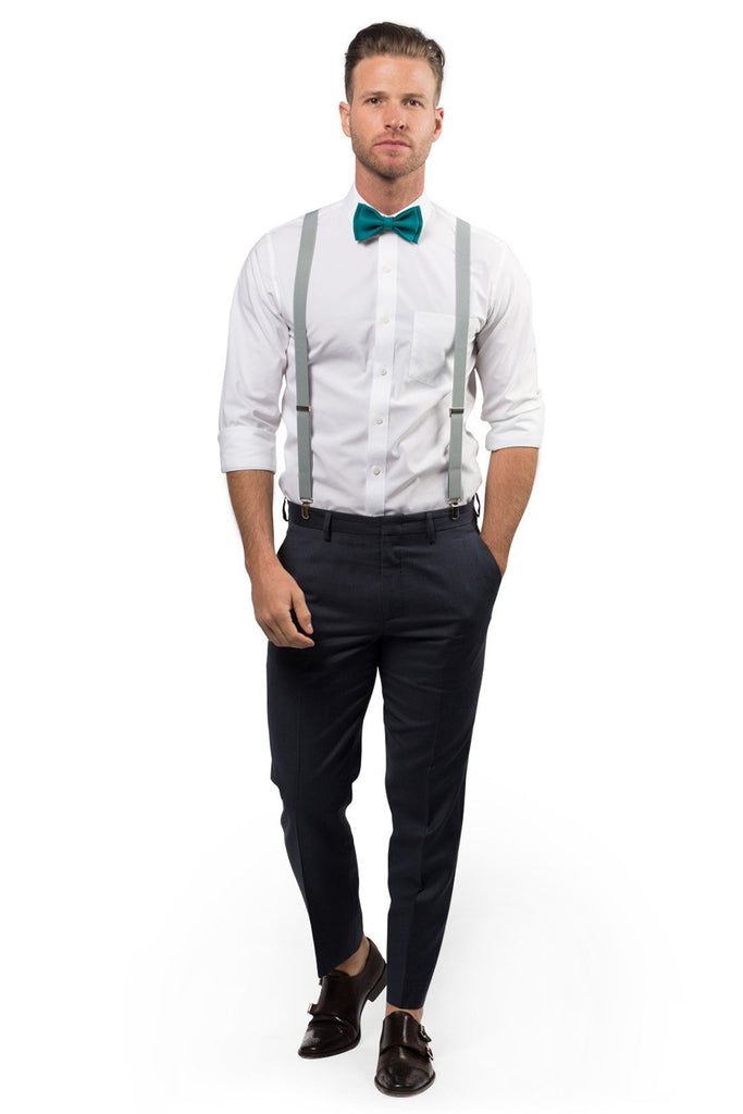 Light Gray Suspenders & Teal Bow Tie
