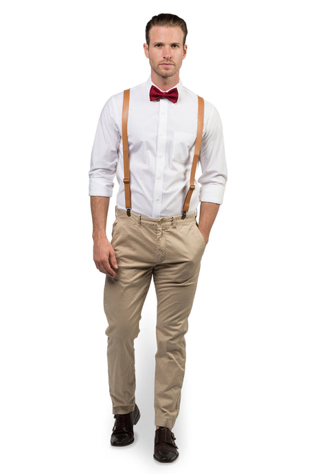 Tan Leather Suspenders & Burgundy Bow Tie