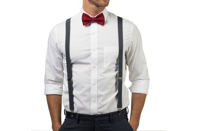 Charcoal Suspenders & Burgundy Bow Tie
