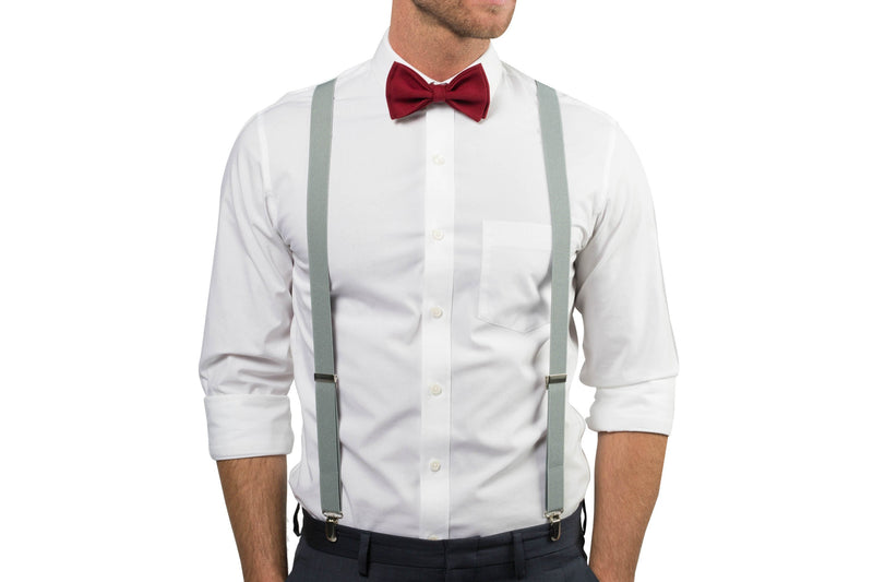 Light Gray Suspenders & Burgundy Bow Tie
