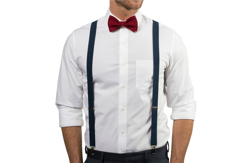 Navy Suspenders & Burgundy Bow Tie