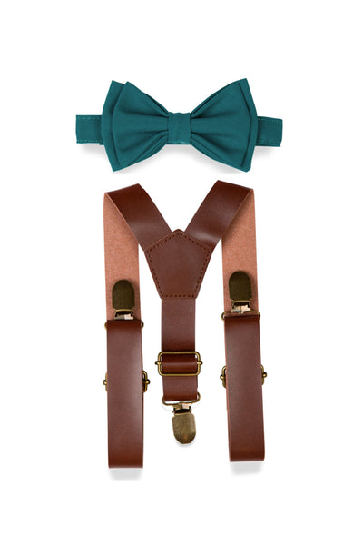 Brown Leather Suspenders & Teal Bow Tie for Kids