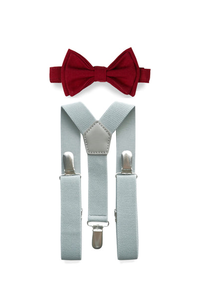 Light Grey Suspenders & Burgundy Bow Tie for Kids