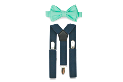 Navy Suspenders & Mint Bow Tie for Kids