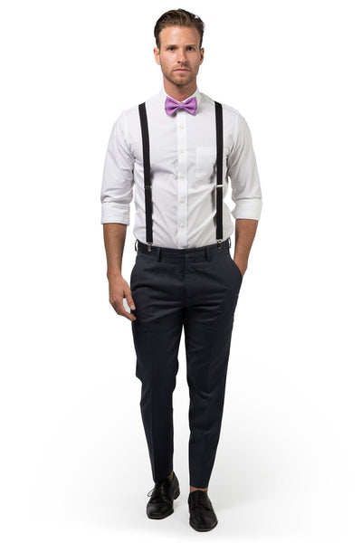 Black Suspenders & Lilac Bow Tie