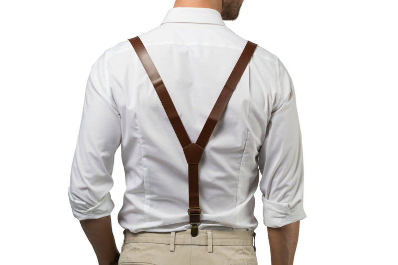 Brown Leather Suspenders & Peach Coral Bow Tie