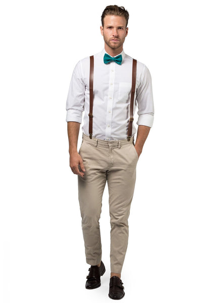 Brown Leather Suspenders & Teal Bow Tie