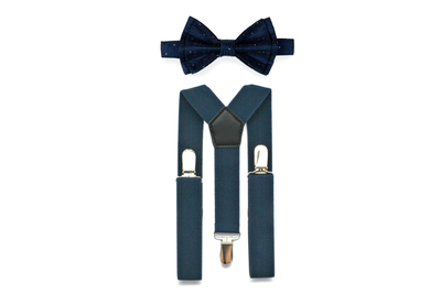Navy Suspenders & Navy Polka Dot Bow Tie for Babies