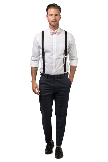 Black Suspenders & Pink Bow Tie