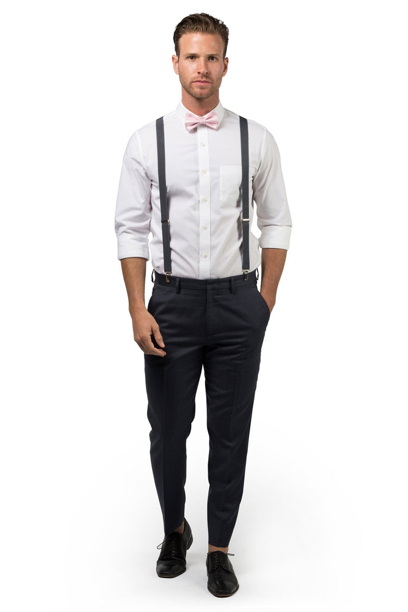 Charcoal Suspenders & Pink Bow Tie