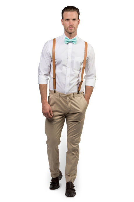 Tan Leather Suspenders & Aqua Bow Tie