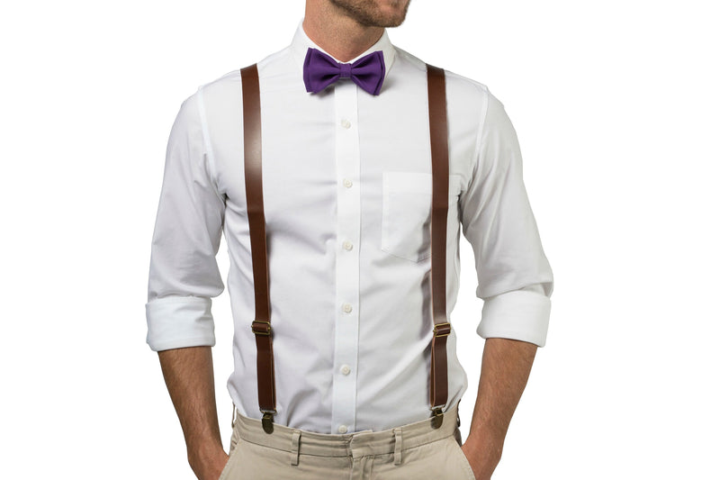 Brown Leather Suspenders & Dark Purple Bow Tie