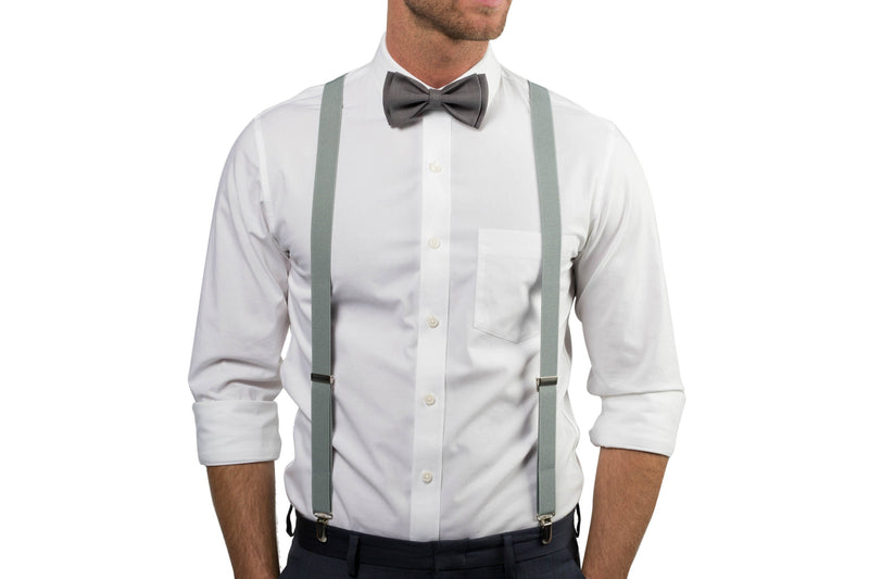 Light Gray Suspenders & Gray Bow Tie